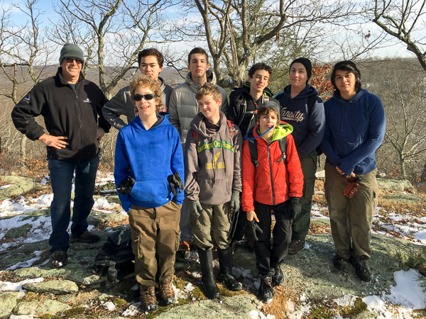 "8 scouts atop ""The Scalp"""